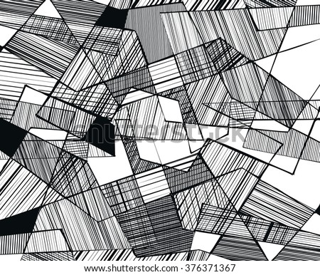 vector abstract geometric shapes with linear fill - 3 - stock vector
