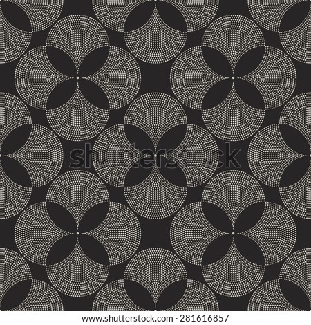 Vector abstract geometrical floral seamless pattern from light beige fan shaped decorative triangular elements on dark black background  - stock vector