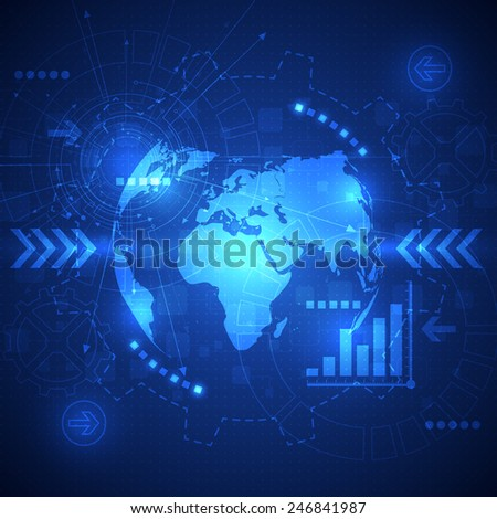 vector abstract global future technology, electric telecoms background - stock vector