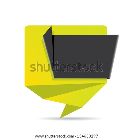 vector abstract glossy green paper origami speech bubble with black ribbon for text. Vector green paper abstract background for website or cover design. - stock vector