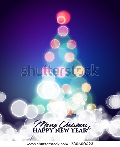 Vector abstract glowing circles of Christmas treein the style of bokeh effect is not in focus - stock vector