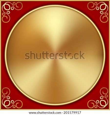 Vector abstract gold circle on red background with ornament - stock vector