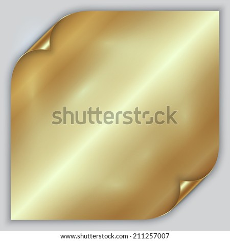 Vector abstract golden metallic foil sheet with rolled corners - stock vector