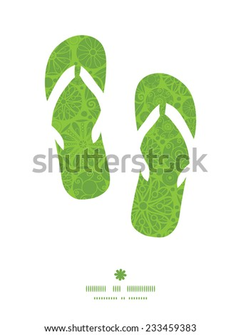 Vector abstract green and white circles flip flops silhouettes pattern frame - stock vector