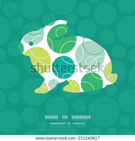 Vector abstract green circles chicken silhouette Easter frame - stock vector