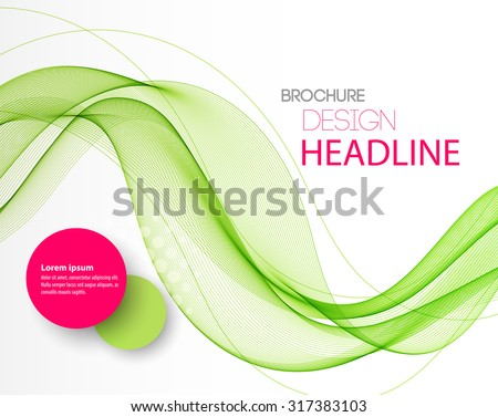 Vector Abstract green curved lines background. Template brochure design - stock vector