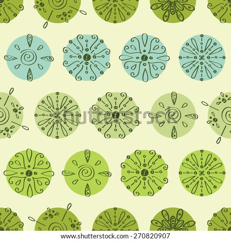 Vector abstract green polka dot stripes seamless pattern background - stock vector