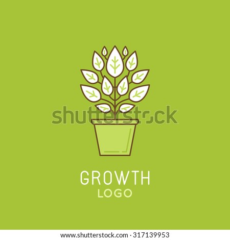 Vector abstract growth logo design element in trendy linear style - growing green plant in the pot - process and development concept  - stock vector