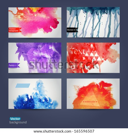 Vector abstract hand drawn set of six watercolor background,vector illustration, stain watercolors colors  on wet paper. Watercolor composition for scrapbook elements. Hipster theme. Design template. - stock vector