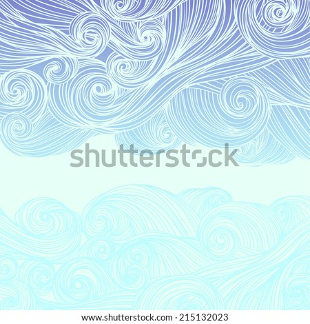 Vector abstract hand-drawn waves curly background  - stock vector