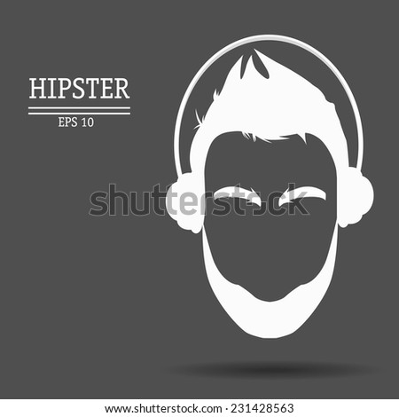 vector abstract hipster with a beard and in earphones - stock vector