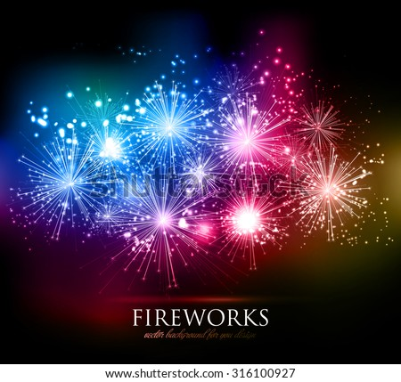 Vector abstract Holiday Fireworks Background for your design - stock vector