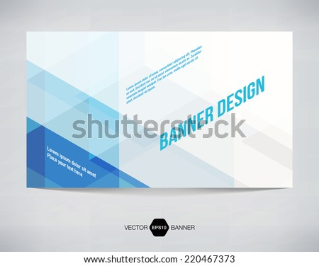Vector abstract horizontal banner with light blue modern futuristic hi-tech background - stock vector