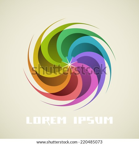 Vector abstract icon. Sign for logo design template. Original decorative color illustration for print, web - stock vector