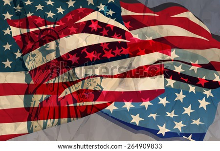 Vector abstract illustration of a waving US flag - stock vector