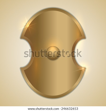 Vector abstract illustration of old golden Greek shield - stock vector