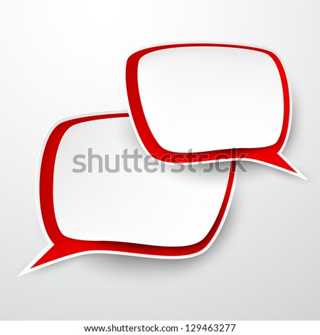 Vector abstract illustration of paper speech bubbles on grey background. Eps10. - stock vector