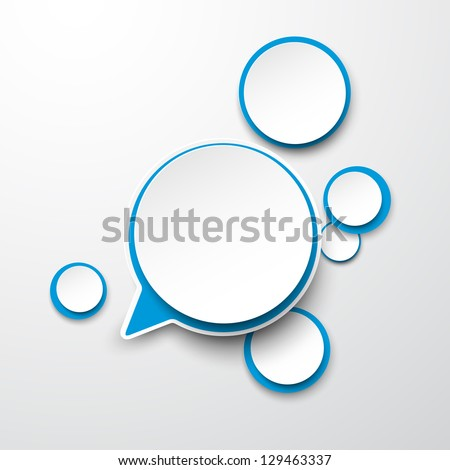 Vector abstract illustration of white and blue paper round speech bubbles on grey background. Eps10. - stock vector