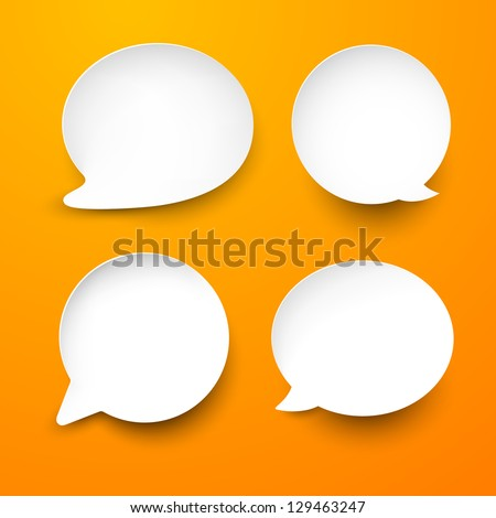 Vector abstract illustration of white paper rounded speech bubbles on orange background. Eps10. - stock vector