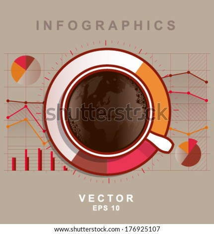 Vector abstract infographics coffee cup light background - stock vector