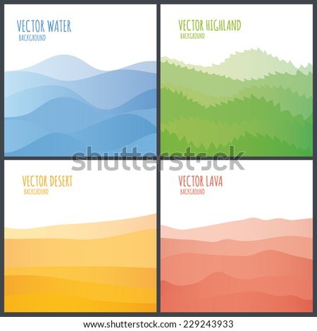 Vector abstract landscape. Decorative square banner with place for your content. Pack of four. - stock vector