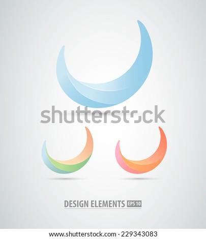 Vector abstract logo design elements. Abstract moon - stock vector
