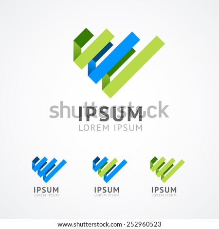 Vector. Abstract logo templateisolated on white background. Business Set. - stock vector