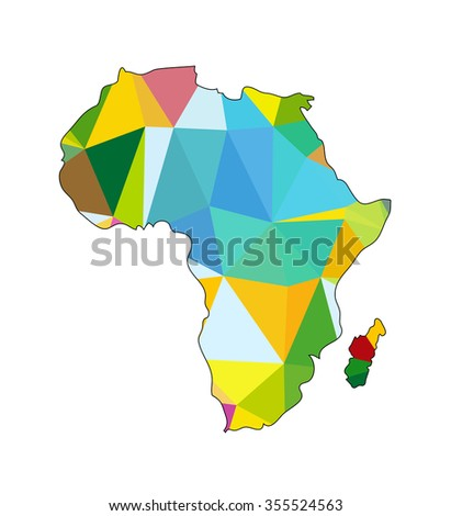 Vector abstract map of Africa continent. - stock vector