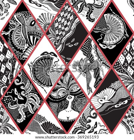 Vector abstract Masquerade ornament. Carnival Party seamless pattern. Harlequin rhombus. Mardi Gras holiday. Black and white hand drawn doodle sketch. Tribal ornaments,feathers, checkered texture - stock vector