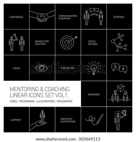vector abstract mentoring and coaching linear icons and pictograms set of skills and solutions white isolated on black background - stock vector