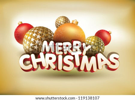 Vector abstract Merry Christmas composition. All elements are grouped and layered in vector file. - stock vector