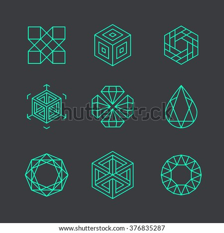 Vector abstract modern logo design templates in trendy linear style - cubes and diamonds - minimal geometric concepts and badges - stock vector