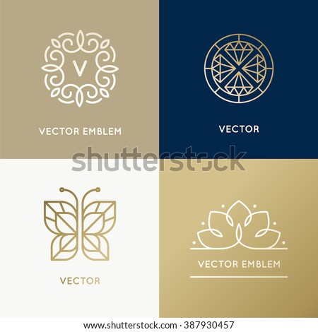 Vector abstract modern logo design templates in trendy linear style in golden colors - luxury and jewelry concepts for exclusive services and products, beauty and spa industry - stock vector