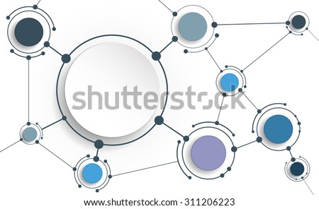 Vector Abstract molecules with 3D paper on light gray background. Communication-social media technology concept. 3D paper circle label with space for your content, business, network and web design - stock vector