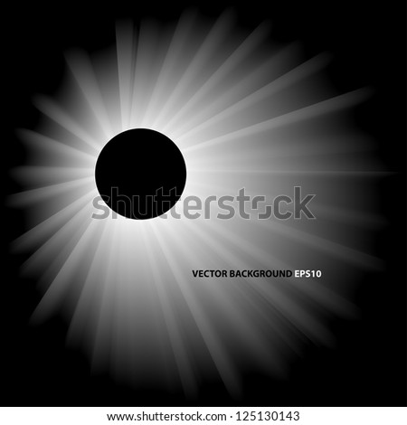 Vector abstract monochrome illustration of solar eclipse - stock vector