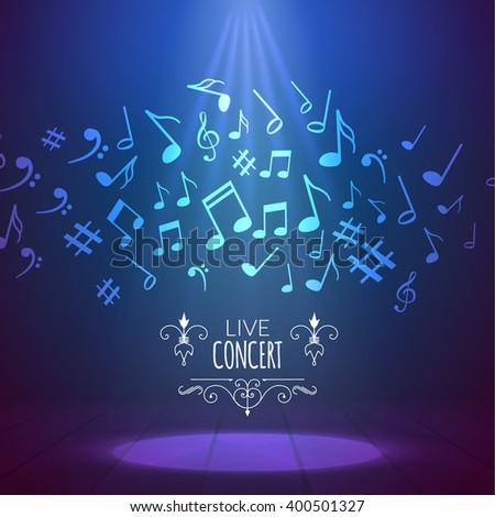 Vector abstract musical background with musical notes. Music festival or concert poster. Illuminated scene with spotlight - stock vector