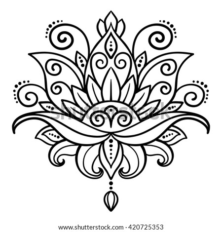 vector, abstract, oriental style, flower, lotus, tattoo, design element, floral, doodle, yoga, medallion, hand-drawing - stock vector