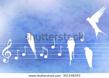 Vector abstract  pattern with blue watercolor texture and hand drawn  music notes  and birds. Perfect  cards for any  kind of design, birthday and other holiday - stock vector