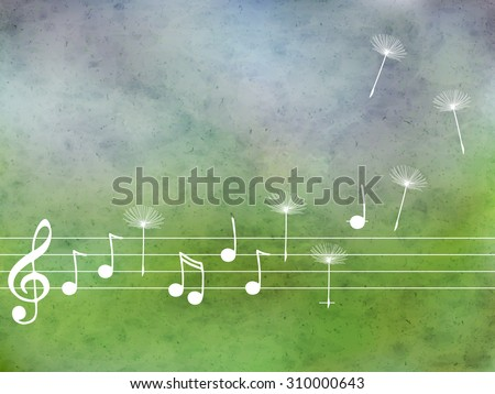 Vector abstract  pattern with blue watercolor texture and hand drawn  music notes  and dandelion. Perfect  cards for any  kind of design, birthday and other holiday - stock vector