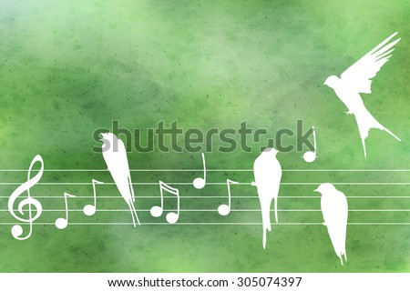 Vector abstract  pattern with blue watercolor texture and hand drown  music notes  and birds. Perfect  cards for any  kind of design, birthday and other holiday - stock vector