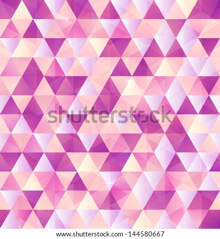 Vector abstract pink triangles seamless pattern - stock vector