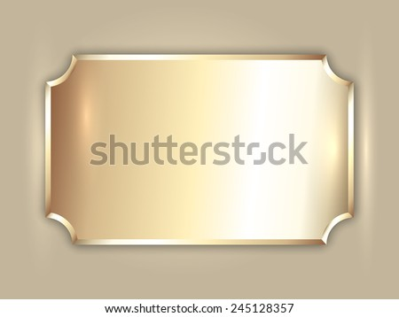 Vector abstract precious metal gold award plate with curved corners and place for text - stock vector