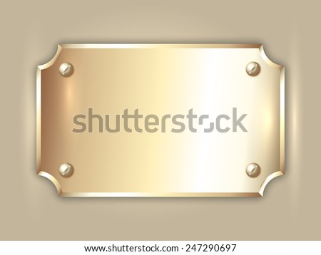 Vector abstract precious metal gold award plate with curved corners, screws  and place for text - stock vector