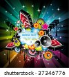 VECTOR Abstract Rainbow Disco Music Background for  Event Flyers - stock vector