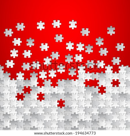 Vector Abstract red background made from white puzzle pieces - stock vector