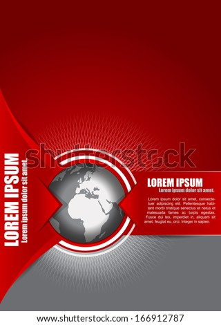 Vector abstract red background with a globe, suitable for transport, freight forwarding, transnational, or travel company. Can be used for brochures, leaflets, posters, cards and other prints. - stock vector