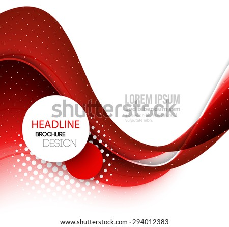 Vector Abstract red curved lines background. Template brochure design - stock vector