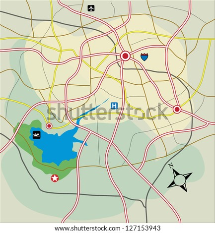 Vector abstract road map - stock vector