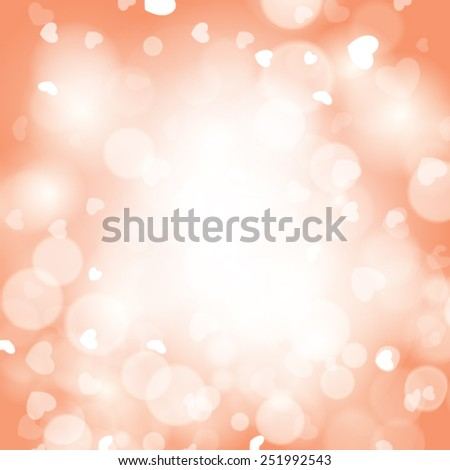 Vector abstract romantic background with hearts and bokeh lights. - stock vector