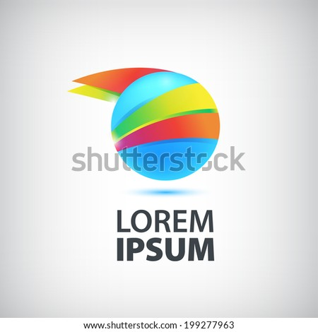 vector abstract round circle colorful icon, logo isolated - stock vector